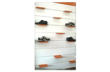 Metal Slat Wall Diplay Shoe Racks For Retail Stores