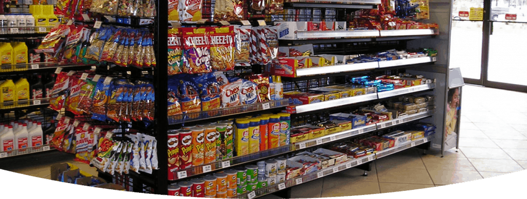 Products display in supermarket racks and shelves
